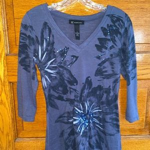 INC Blue Top with 3/4 sleeves